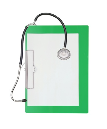 stethoscope and green clipboard isolated on white photo