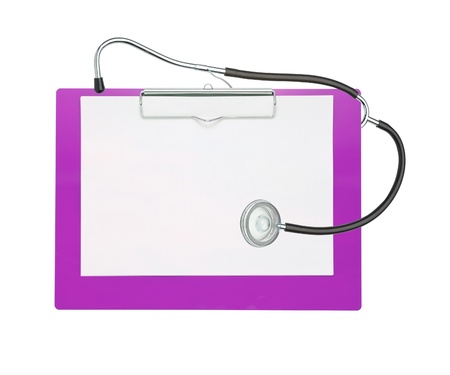 stethoscope and pink clipboard isolated on white photo