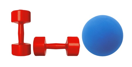 Red dumbbells fitness and blue ball isolated on white background photo