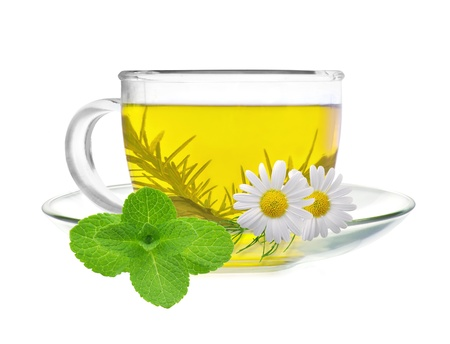 cup of green tea with chamomile flowers and mint isolated on white background photo