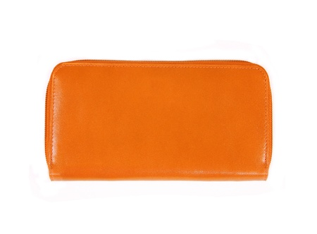 beautiful orange leather woman purse isolated on white photo