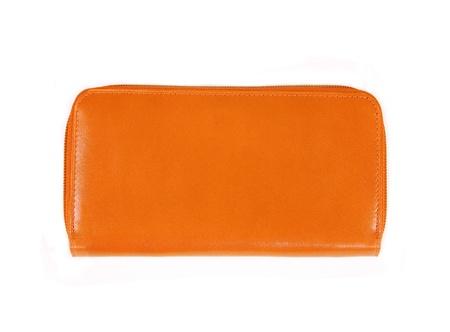 beautiful orange leather woman purse isolated on white photo