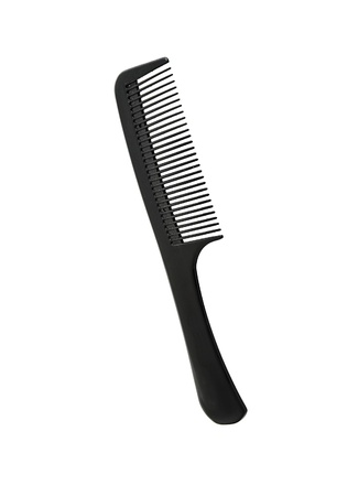 Plastik: Black hairbrush isolated on white background Stock Photo