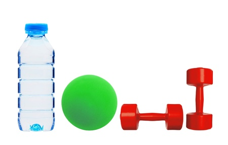 Red dumbbells fitness, green bal and bottle of water isolated on white background photo