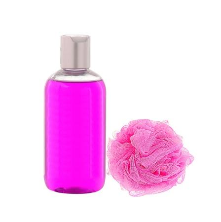 wisp: Shower gel and wisp of bast isolated on white  background Stock Photo