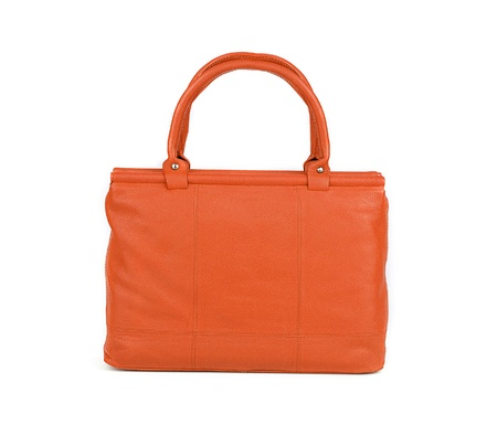 Orange women bag isolated on white background photo