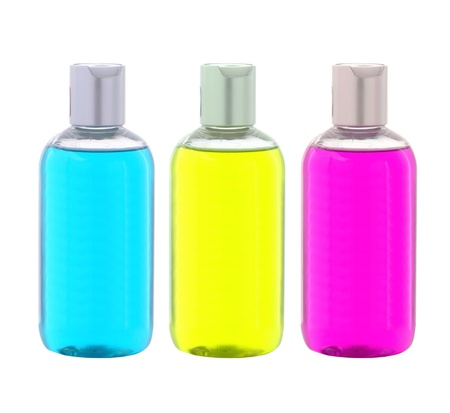 Colorful Liquid Soap Bottles isolated on white  background