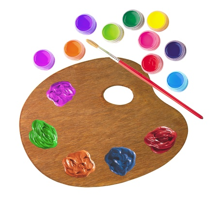 wooden palette with color paints and brush isolated on white background photo