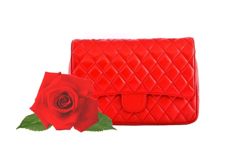 Red women bag and red rose isolated on white background Stock Photo - 14901009
