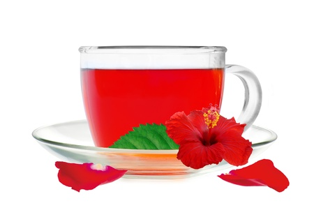 Glass cup hibiscus tea with hibiscus flower and petals isolated on white background photo