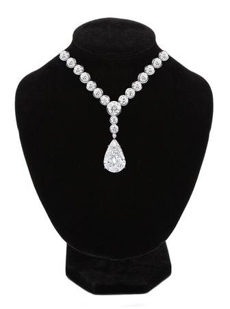 diamond necklace: Diamond necklace on black mannequin isolated on white background