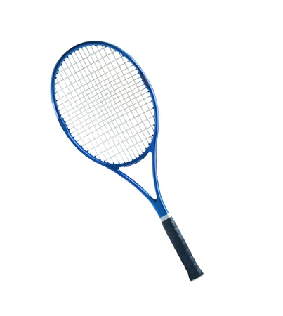 racquet: Blue tennis racket isolated white background