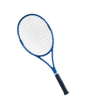 raqueta de tenis: Raqueta de tenis azul aislado fondo blanco Foto de archivo