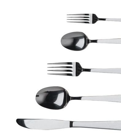 fork ,knife and spoon on a white background photo