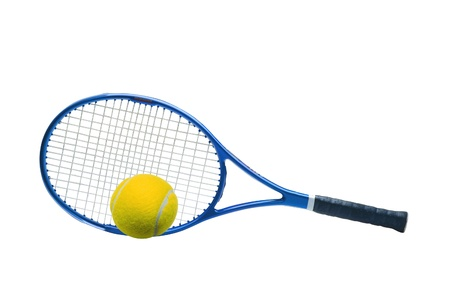 Blue tennis racket and yellow ball isolated white background
