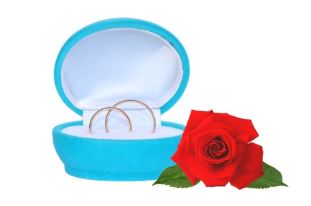 wedding rings in blue gift box and red rose isolated on white photo