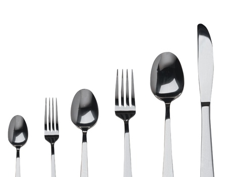 bar tool set: fork ,knife and spoon on a white background