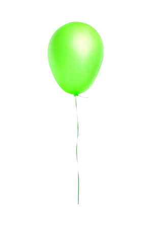 Green flying balloon isolated on white background