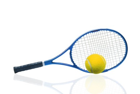 Blue tennis racket and yellow ball isolated white background photo