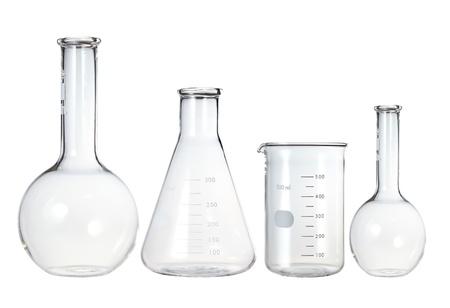 Test-tubes isolated on white. Laboratory glassware Stock Photo