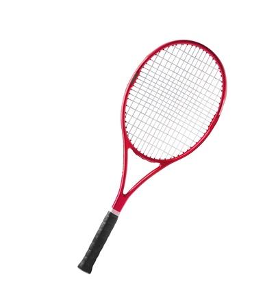raqueta de tenis: Raqueta rojo aislado fondo blanco