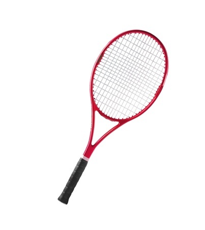 tennis racket: Red tennis racket isolated white background