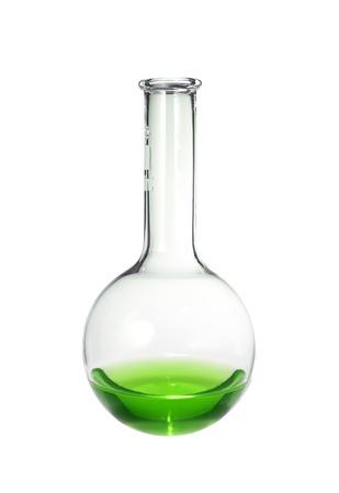 tubo de ensayo: Prueba-tubo con el líquido verde aislado en blanco Foto de archivo
