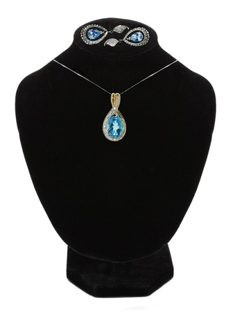 beautiful necklace and earrings on mannequin isolated on white Stock Photo - 15898466