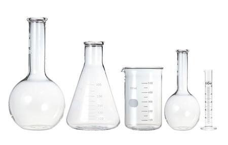 drug discovery: Provette isolati su bianco. Vetreria di laboratorio Archivio Fotografico