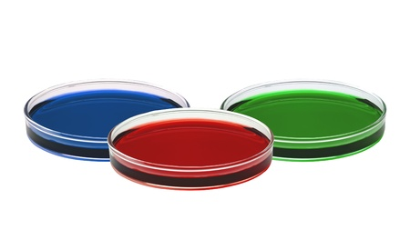 color liquid in petri dishes isolated on white background Stock Photo - 15898456