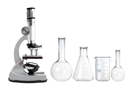 Laboratory metal microscope and empty test tubes isolated on white Stock Photo - 15898457