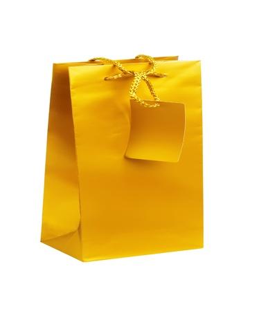 Golden gift shopping bag isolated on white Stock Photo - 17859707