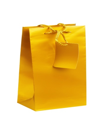 Golden gift shopping bag isolated on white Stock Photo - 17859707