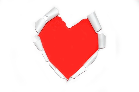 White torn paper in heart shape symbol over red background for message Stock Photo - 17859701