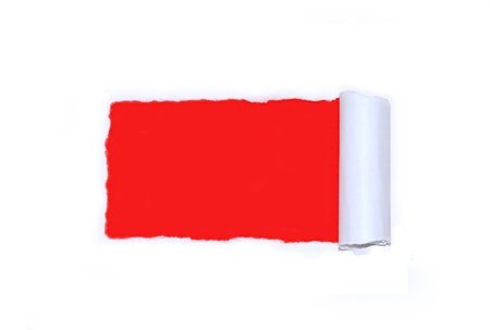 Ripped white paper over red Stock Photo - 17984544
