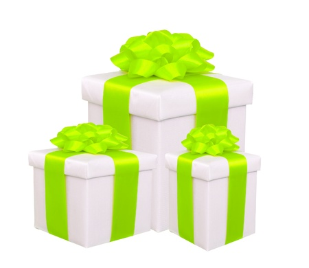 gift boxes with green bow isolated on white Stock Photo - 18905461