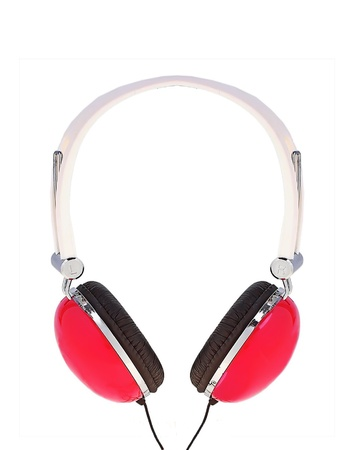 onslaught: red modern headphones isolated on white background Stock Photo
