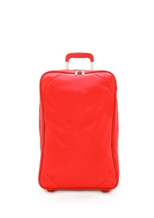 red travel bag isolated on white background Stock Photo