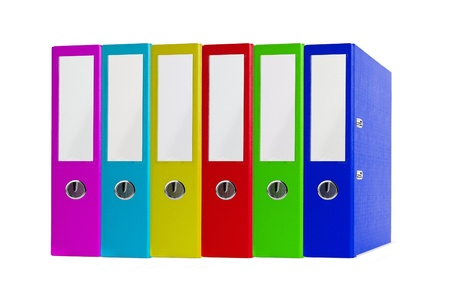 Colorful office folders isolated on white background photo
