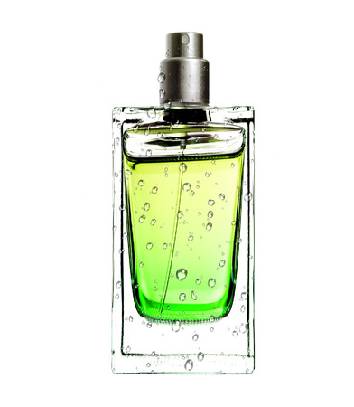 mens perfume in beautiful bottle in water drops isolated on white  Stock Photo