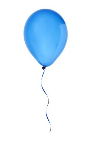 バルーンの白い背景で隔離のフライング ブルーの幸せな航空