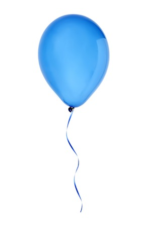 ballon: blue happy air flying balloon isolated on white background