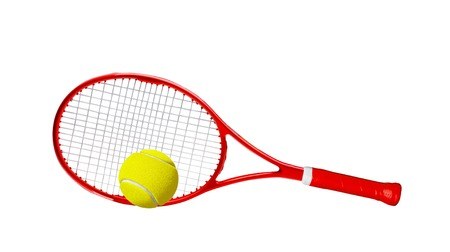 handled: Red tennis racket isolated white background