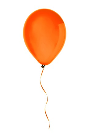 orange happy air flying balloon isolated on white background