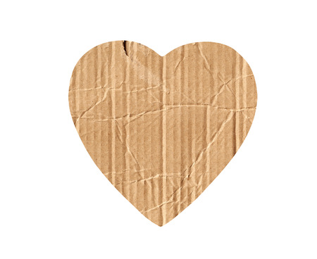 cardboard heart isolated on white photo