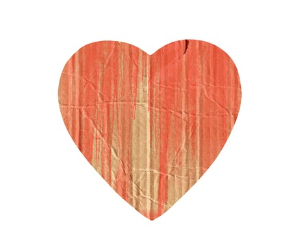 cardboard heart with red paint splash isolated on white photo