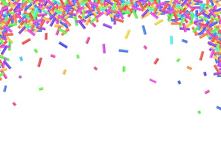 Border frame of colorful sprinkles isolated on white background card for text photo