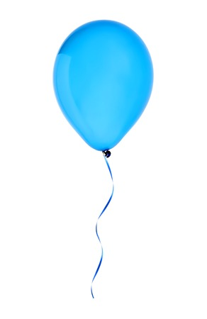 blue happy air flying balloon isolated on white background