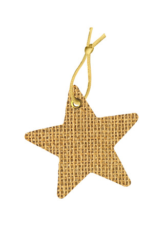 Sackcloth Tag Label Star isolated on white background photo