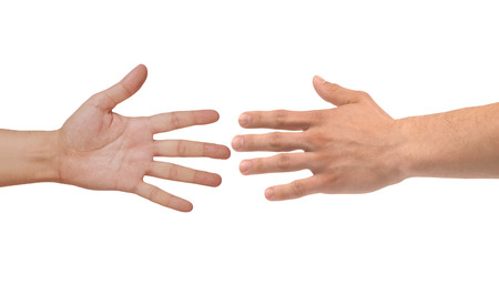 Two hands isolated on white background photo